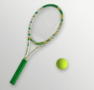 tennis player & equipment
